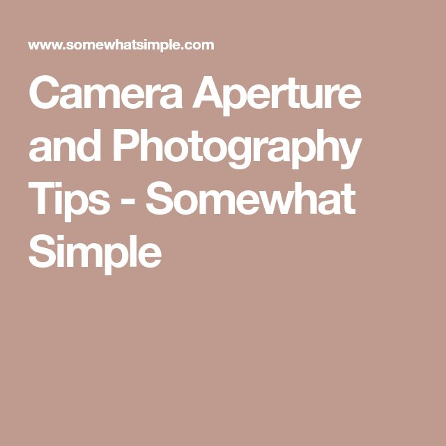 Camera Aperture and Photography Tips - Somewhat Simple