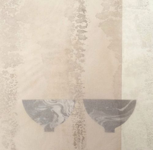 Ann SymesTea ~ bowl collection 10 - suminagashi prints with pale sumi-e ink overlay.