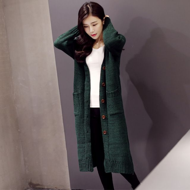 2016 Autumn Female Fashion Mixed Color Oversized Sweaters Korean Style Single Breasted Long Knitted Cardigan For Women Sweater