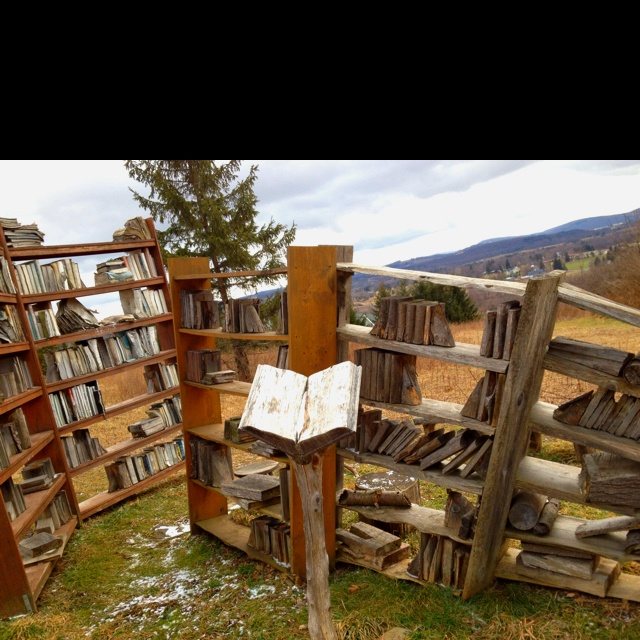 Library nature art. No line between Print Books and wooden blocks.  At Art park. Hey @Sue!