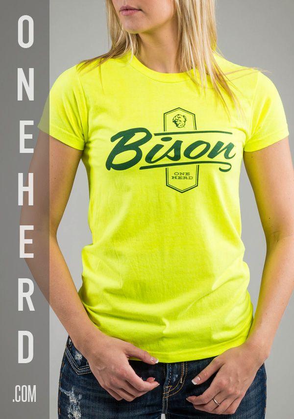 Bison Banner Neon Yellow Women's Tee, with NDSU Logo. #NDSU