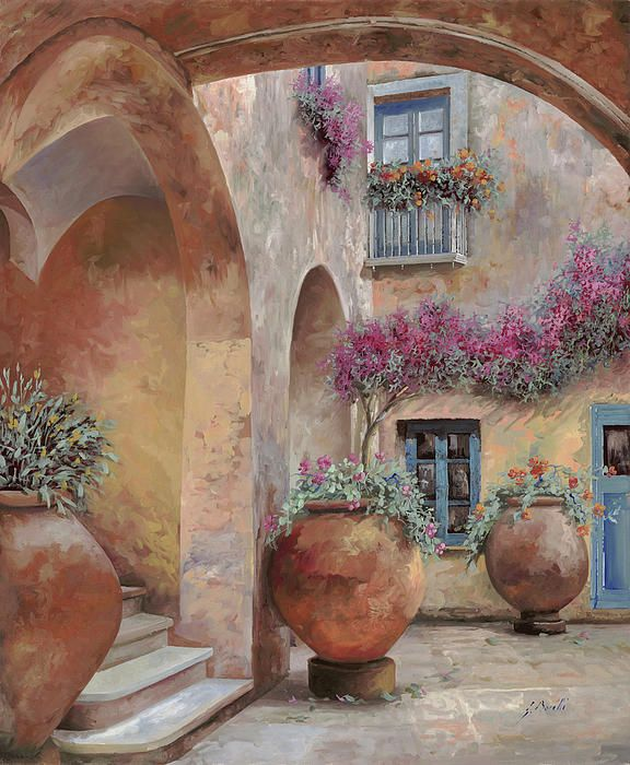 Le Arcate In Cortile Guido Borelli  Painting Oil on Canvas
