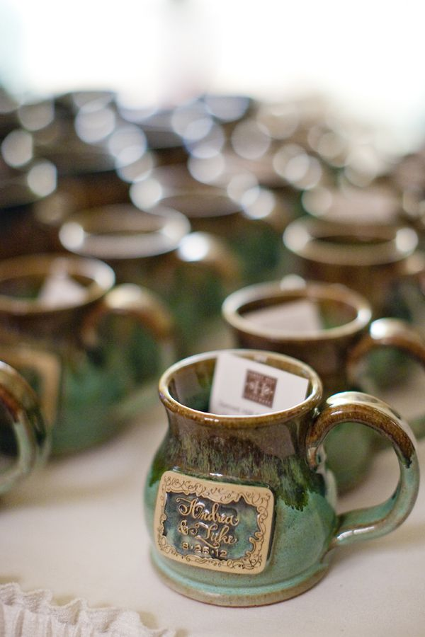 coffee mug favors. with thank you card inside. mug could have fav quote on it