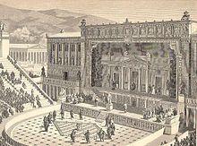 La escenografía o pintura de escena tiene sus raíces en el teatro griego. Los griegos usaron el periacto, artificio especial que empleaban en sus teatros para cambiar decoraciones. Consistía en un aparato prismático de revolución con un paisaje diferente pintado en cada una de sus tres caras.