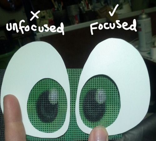 Want to make your character more expressive? It's all in the eyes!  My favorite thing to do when making fursuit eyes to off-center the pupil so the gaze is focused. (More iris visible on the outer edges)  If you are already exaggerating and flattening the eye for a toony look, why stop there? This is a subtle change that really impacts the expression and focuses the gaze even more. Most toon scleras are made to be oblong, why change the flow?   You can definitely push expressions ...