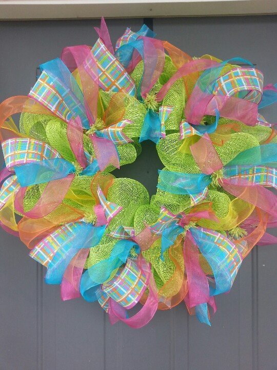 Spring Deco Mesh Wreath with Plaid Ribbon