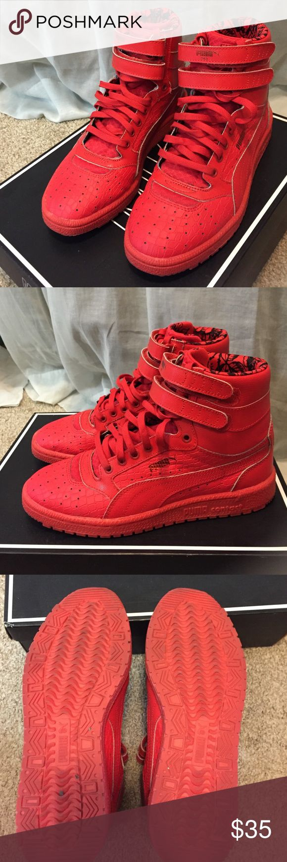 Red PUMA high tops sneakers All red Puma high top sneakers. Only worn twice---in great condition! Puma Shoes Sneakers