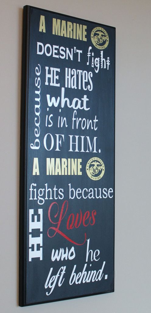 """""""Why A Marine Fights"""" USMC Wood Wall Hanging/plaque"""