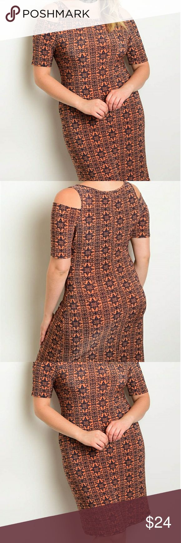 Plus size short sleeve mini dress Price will be $24  94% polyester 6% spandex  Plus size short sleeve open shoulder printed mini dress.  1x - 18 inches underarm to underarm 29 inches underarm to hem 2x - 19 inches underarm to underarm 29 inches underarm to hem 3x - 20 inches underarm to underarm 29 inches underarm to hem Dresses