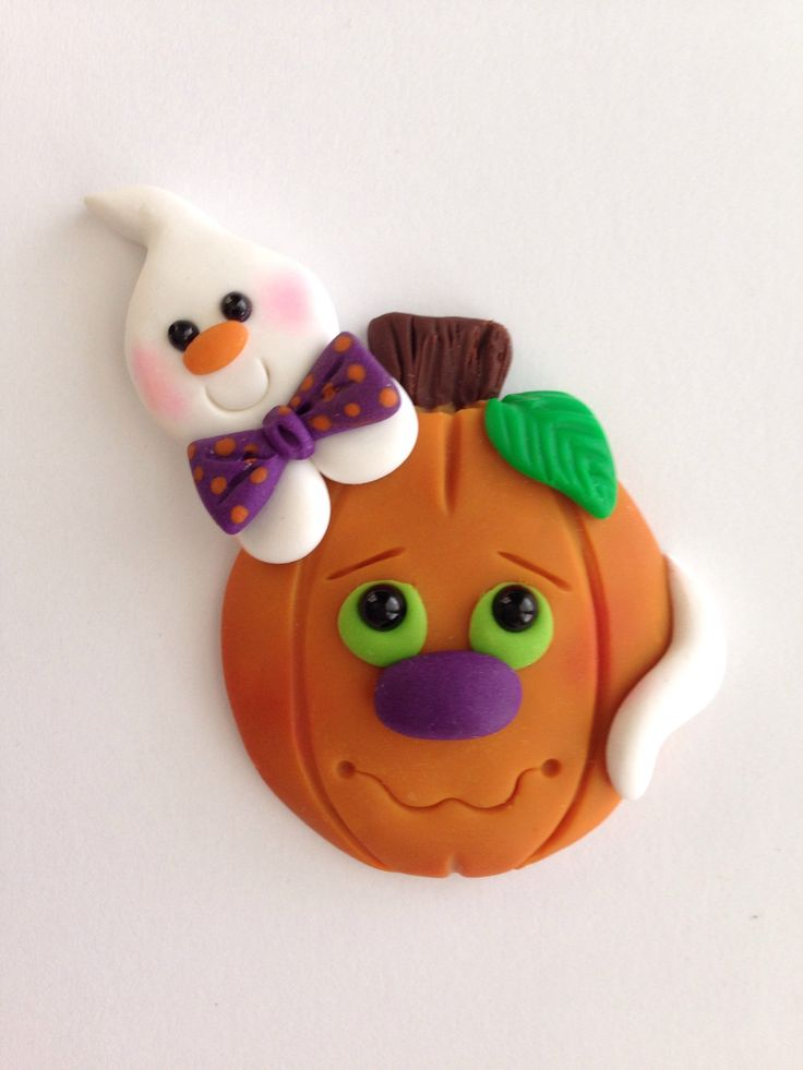 Ghost and pumpkin pal pin in my Etsy shop https://www.etsy.com/listing/484696137/halloween-ghost-and-pumpkin-clay-pin