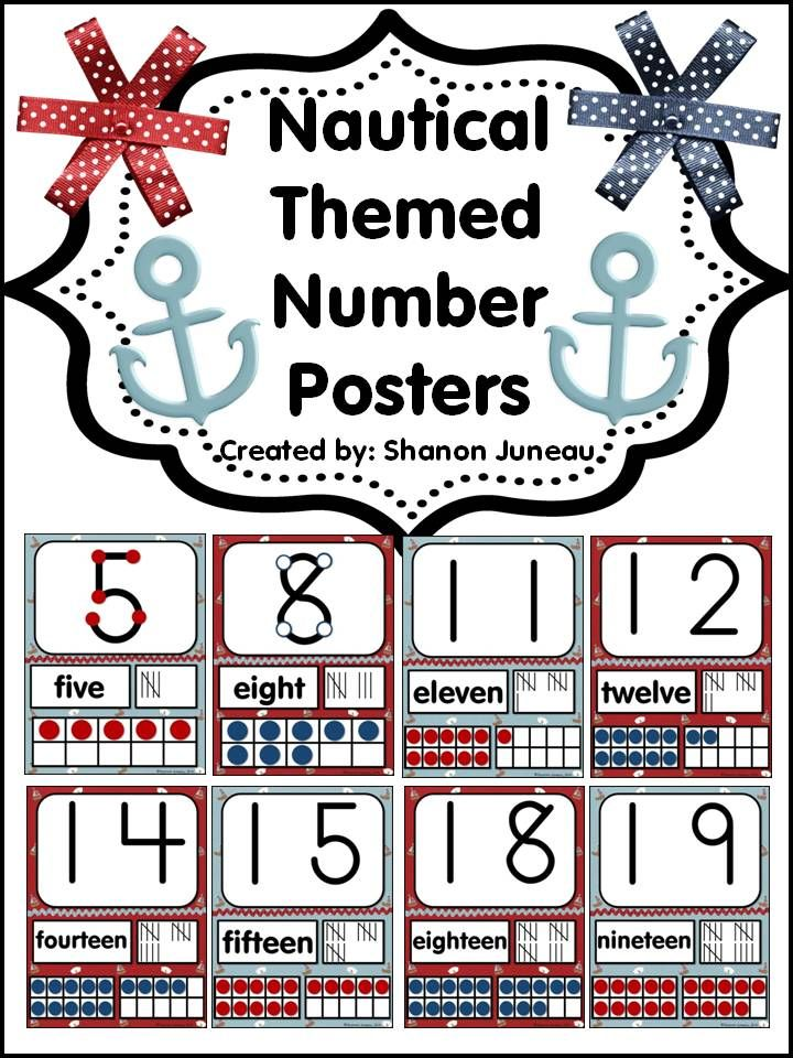 Classroom Decor Numbers ~ Nautical themed number posters classroom decor
