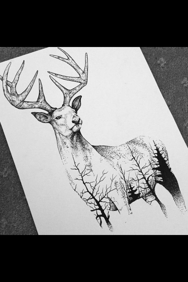 Deer                                           this is what I want for my grandpa... maybe a lake scene instead of trees... or both who knows