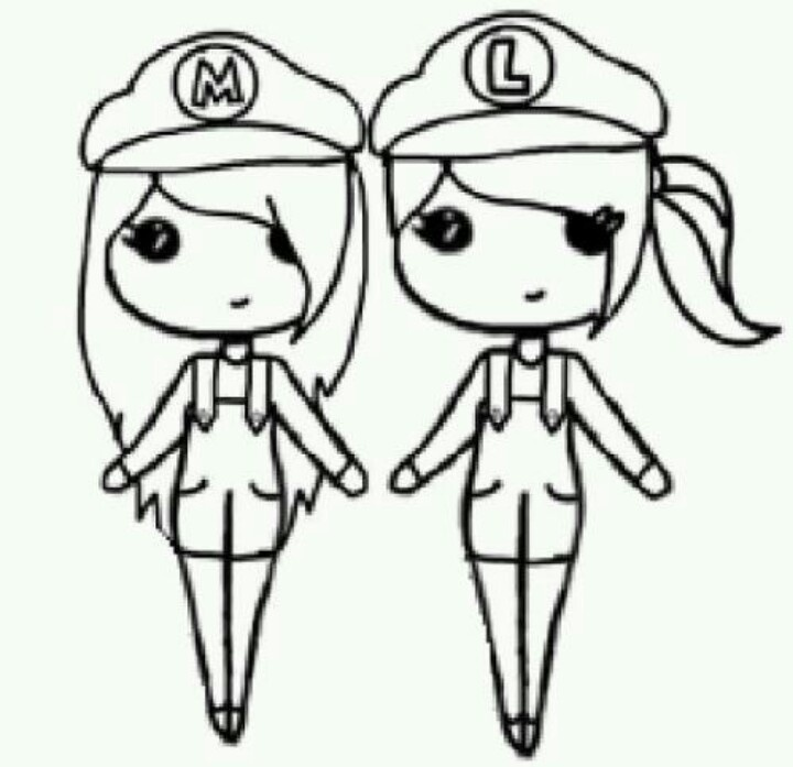 Mario and Luigi Chibis | Chibi Stencils | Pinterest ...