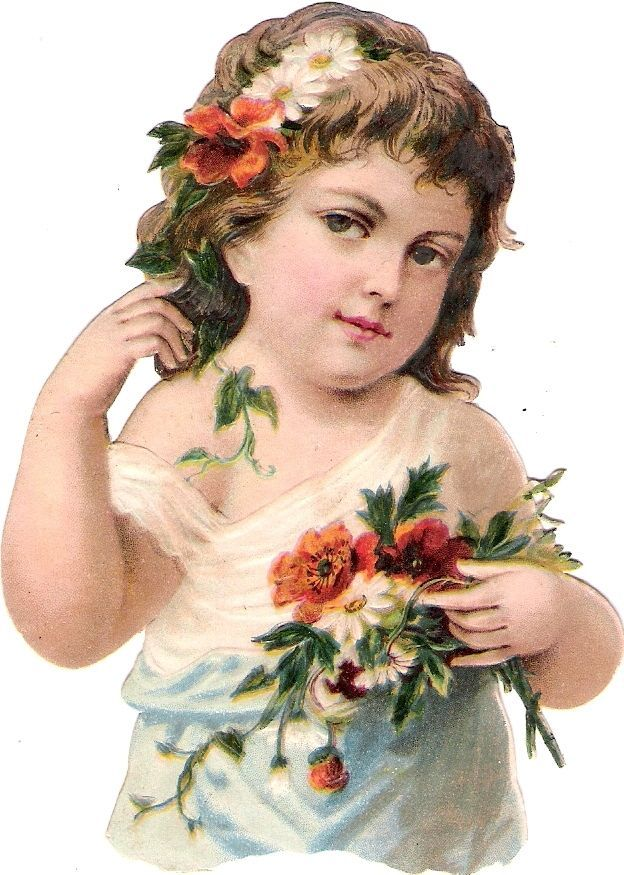 Oblaten Glanzbild scrap die cut chromo Kind child enfant 11,3 cm portrait Blume