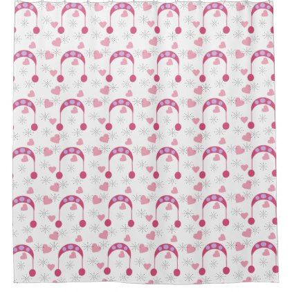 winter pink hat white heart snow shower curtain - pattern sample design template diy cyo customize