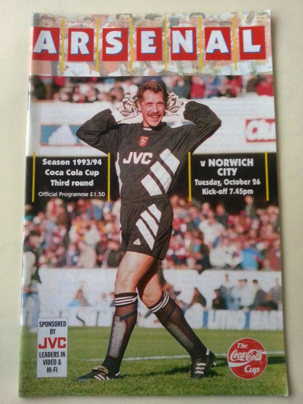 Arsenal v Norwich City Football Programme League Cup 26/10/1993