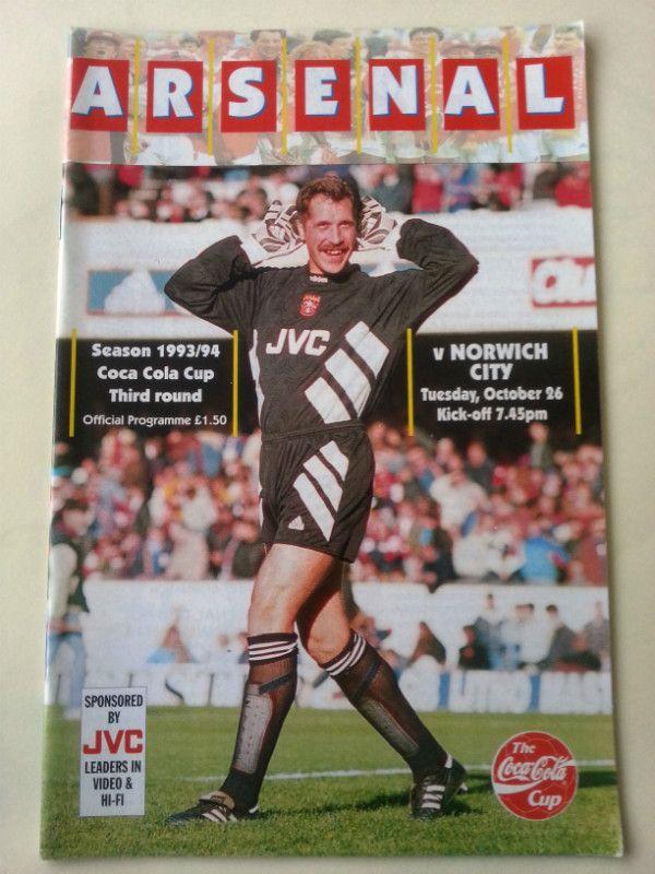 Arsenal v Norwich City Football Programme League Cup 26/10/1993