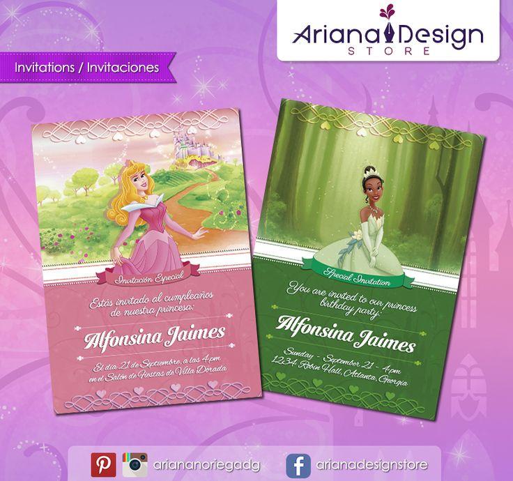 #printable #invitation #disneyprincess #sleepingbeauty #tiana #aurora #belladurmiente #arianadesignstore #invitacion #fiestainfantil #cumpleaños
