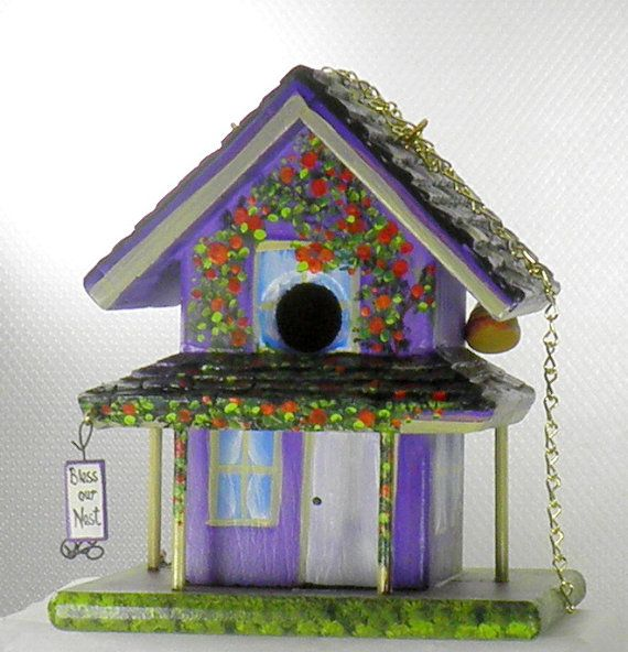Handmade Purple Farmhouse Birdhouse , Hand Painted , with a Porch , Bee Hive on a Birdhouse , Environmentally Friendly