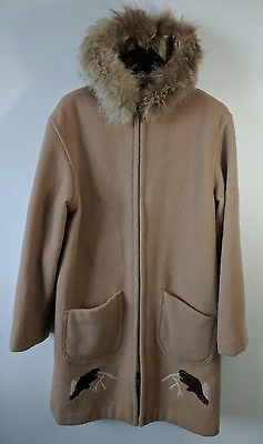 Vtg Handmade Inuit Eskimo Parka Coat L Beavers Wool Fur Trimmed Embroidered