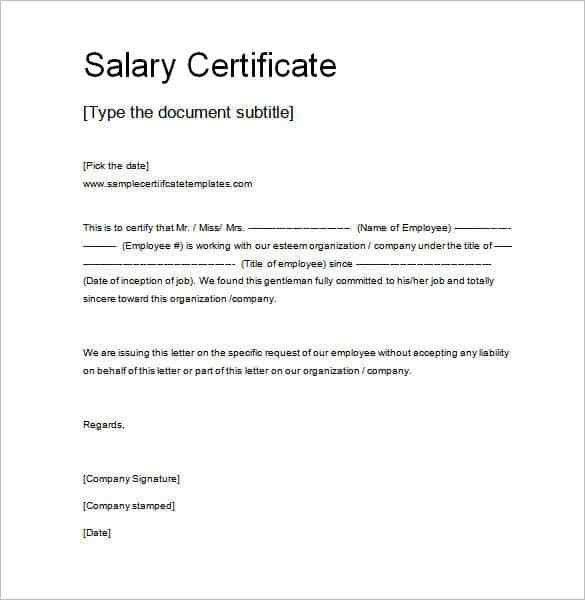 Salary certificate template 28 free word excel pdf psd Template.net #SampleResume #SalaryCertificate