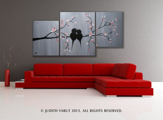 LOVE BIRDS on White and Red Blossoms heavy impasto by studiox26, $145.00
