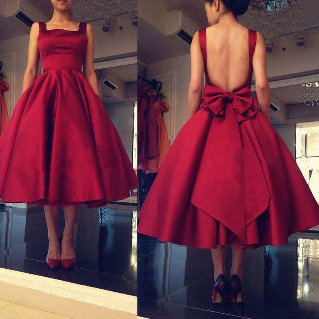 Borgoña elegante 2016 sin respaldo satén mujeres Formal partido Prom vestidos arco Vestido de festa de longitud de té L260