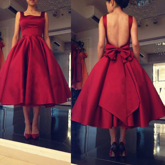 Burgundy Elegant Evening Dresses 2016 Backless Satin Women Formal Party Prom Gowns Bow Vestido de festa Tea Length L260