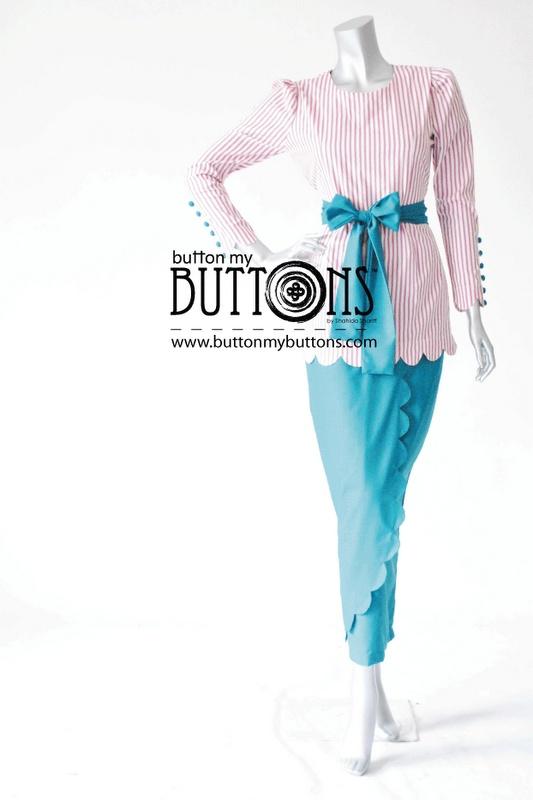 buttons fancy modern kurung