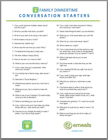 "LOTS of Good Questions: Most mothers agree that the standard, ""How was your day?"" is destined to fail. But if we take a little time to get creative with our questions, some powerful, memorable conversations will follow. To make this simple for you, we've put together a PDF with 35 unique conversation starters. If you'd like, you can print it out, tape it inside a cupboard, put it into a sheet protector, or cut it into strips and put them into a small jar at the center of your table."