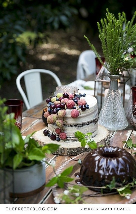 Chocolate cake and naked cake with fresh fruit | Photo by Samantha Maber