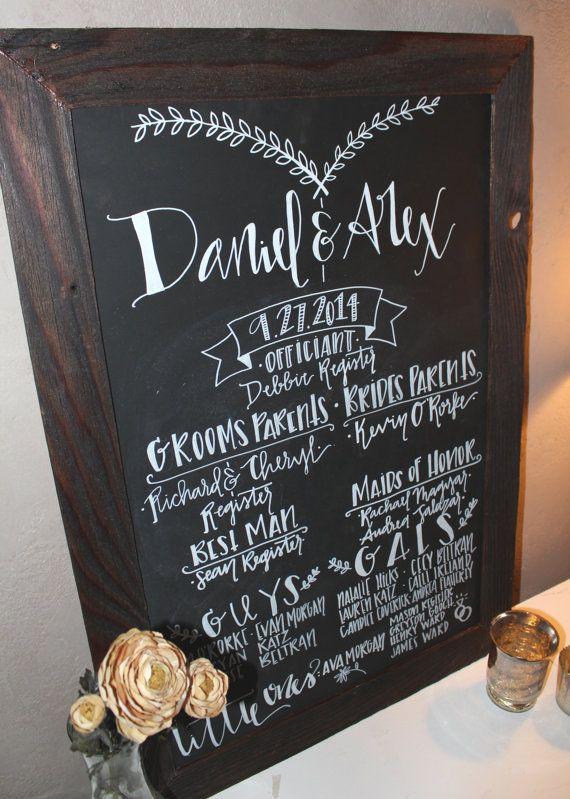 Large Rustic reclaimed wood custom chalkboard, wedding program!