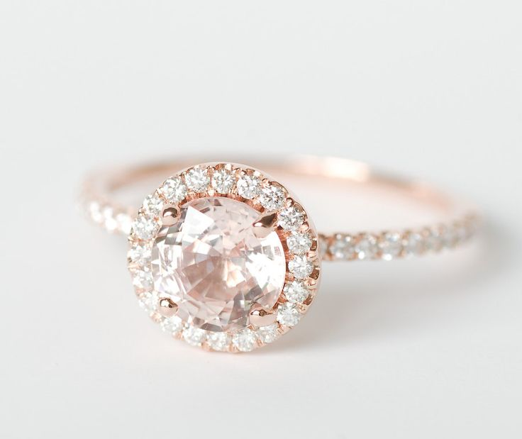 Certified Peach Pink Champagne Round Sapphire Diamond Halo Engagement Ring 14K Rose Gold. $1,670.00, via Etsy.