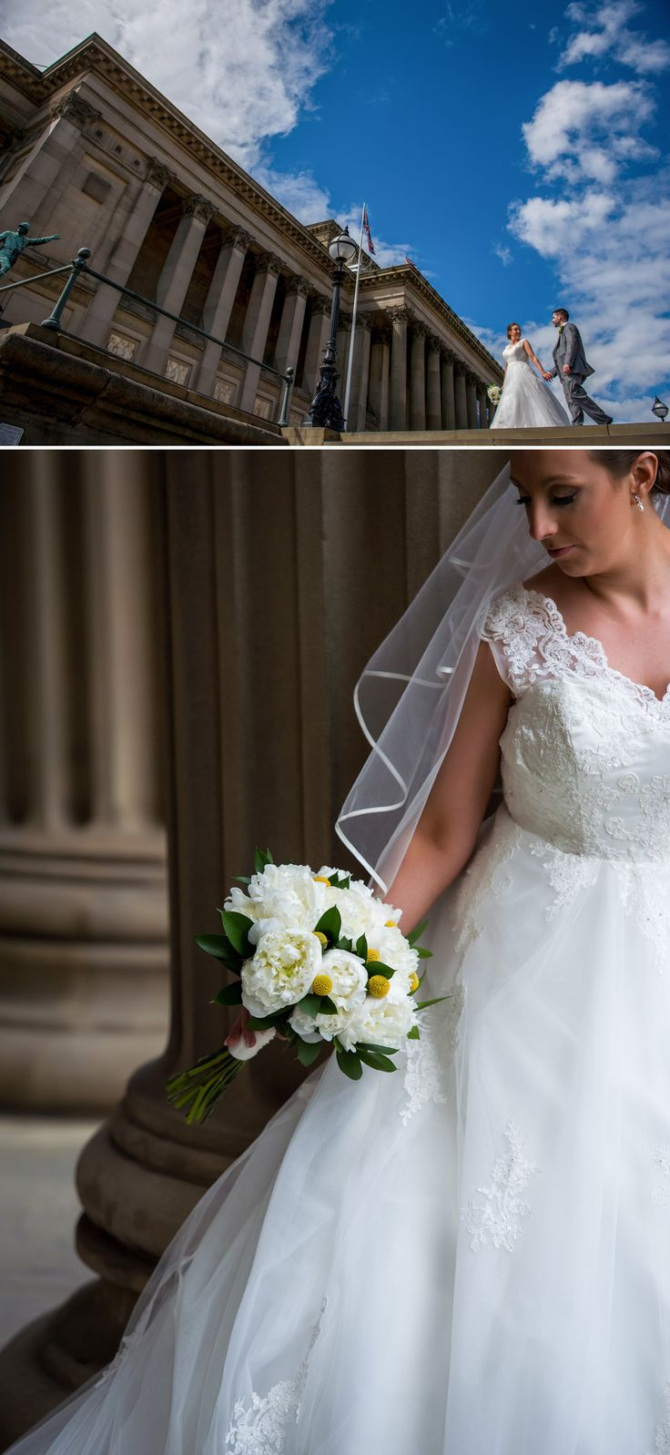 Bride and Groom in front of St Georges Hall. Liverpool Wedding Photography