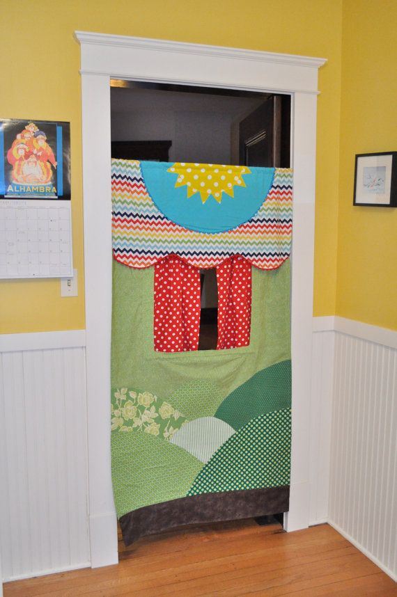 Made to Order Doorway Puppet Theater by GracieFrancesDesign on etsy.com. Pinned as design idea: I like that the fabric makes scenery.