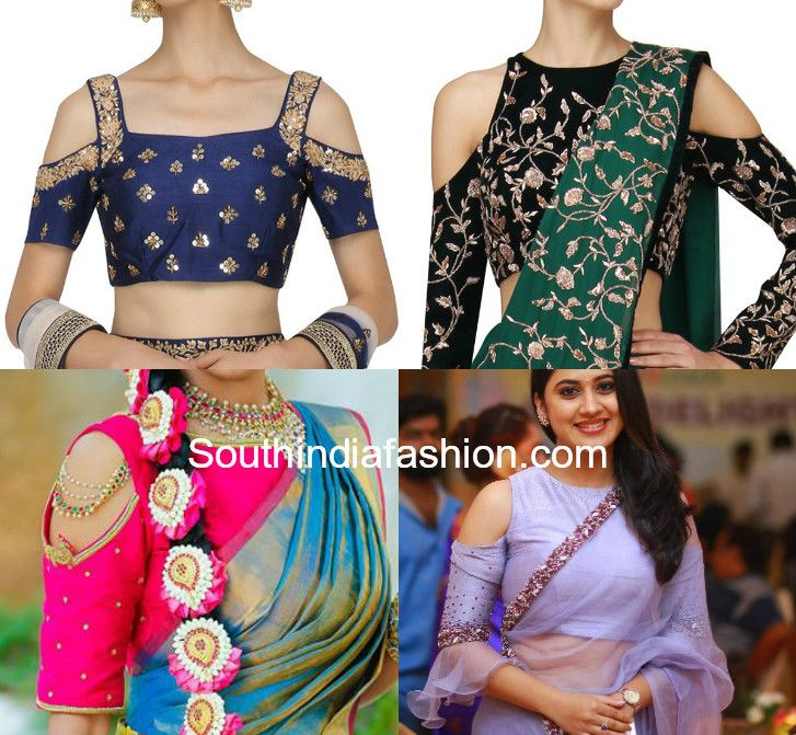 2b93ea5354fa7 Embroidered cut shoulder blouse designs for party wear sarees. cold  shoulder blouse designs