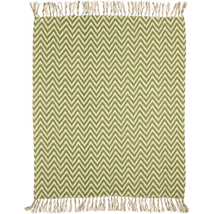 A basket weave of jungle green and sandy tan in a chevron pattern make the Green Chevron Woven Throw a relaxed addition to the home.  ++  BUY at DecorateTheSeason.com