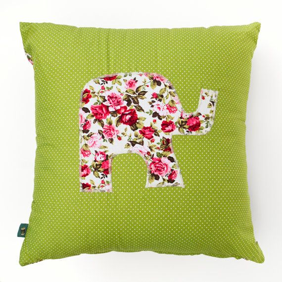 Green Cushion with Floral Elephant 45cm x 45cm