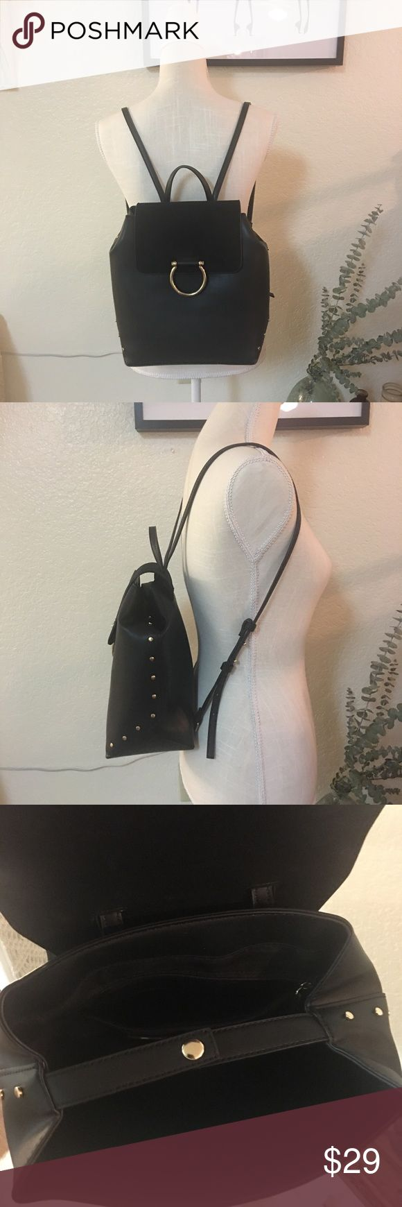 Topshop backpack Like new with gold detailing clean inside and out Topshop Bags Backpacks
