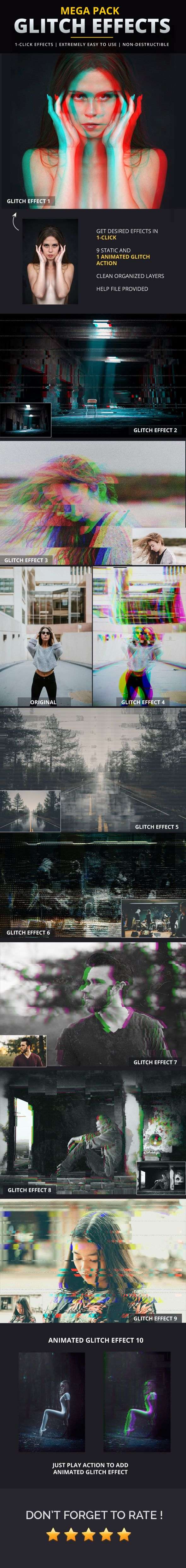 Glitch Effects Mega Pack - Photo Effects Actions