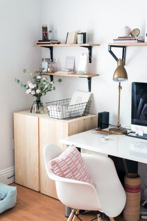 Plywood cupboards in home office.