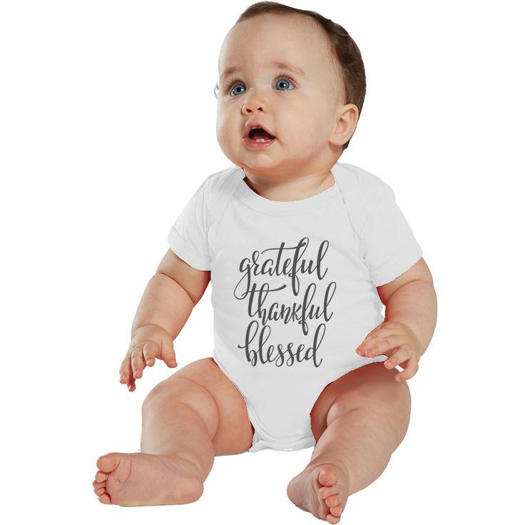 Grateful, Thankful & Blessed baby bodysuit or Shirt White/Charcoal by bodysuitsbynany on Etsy