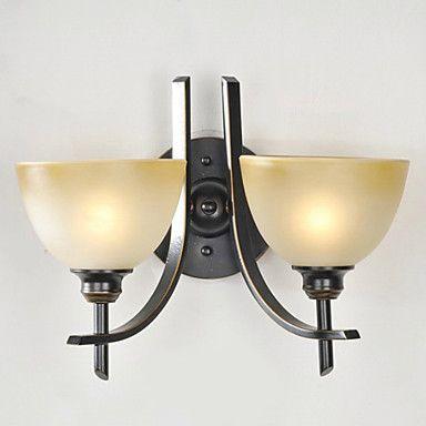 Wall Light, 2 lys, Traditionel amerikansk-Style Iron Glass Maleri Processing – USD $ 139.99