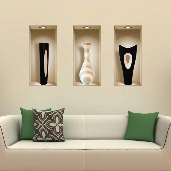 FREE SHIPPING! New Set 3 Black White Vases Wall Sticker 3D Art Magic NICHE…