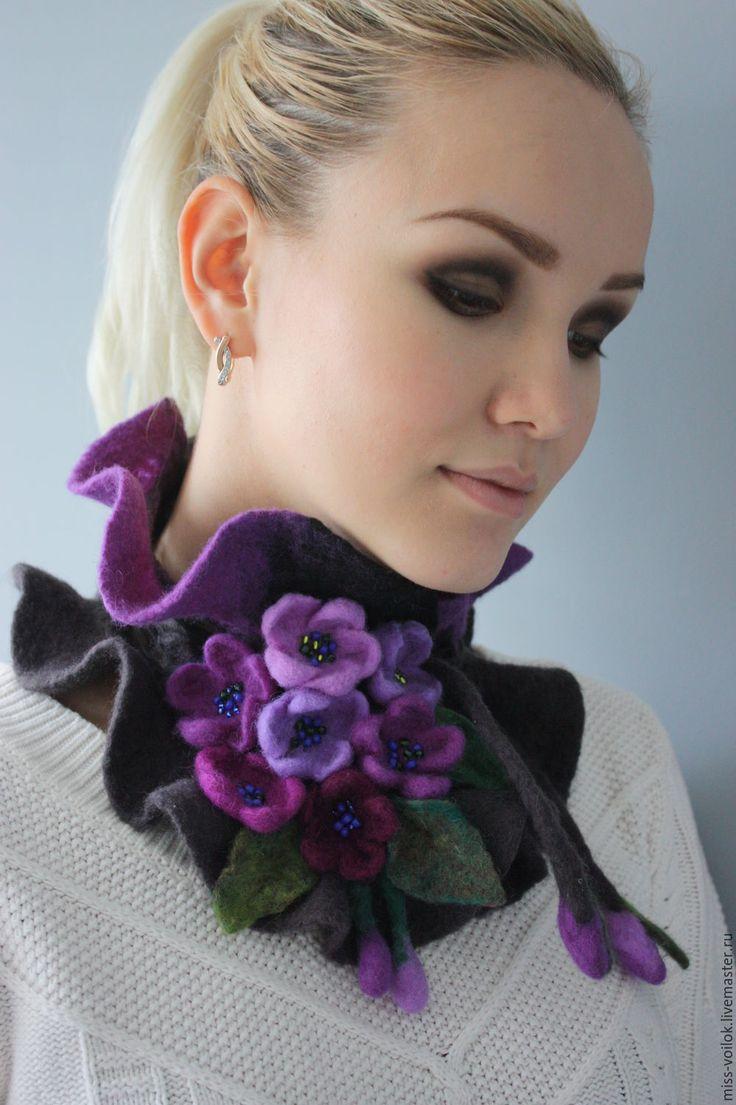 """Купить Шарф из шерсти """"Фиалки""""2 (валяние) - фиолетовый, цветочный, авторская работа, украшение, украшение на шею"""