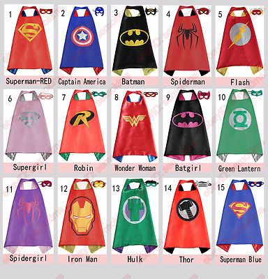 Details about Superhero Cape (1 cape+1 mask) for kids birthday party favors and…                                                                                                                                                                                 More