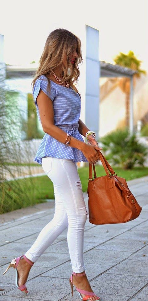 Stunning Casual Outfits Spring Summer 2015 Bright Stripped Blouse Classical White Pants Combination.