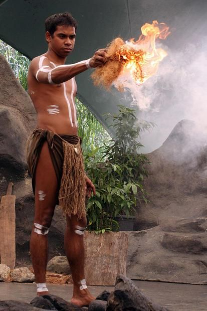 The fire is on  the live firedance show  Tjapukai Aboriginal Park  Cairns  Qld.  Australia.