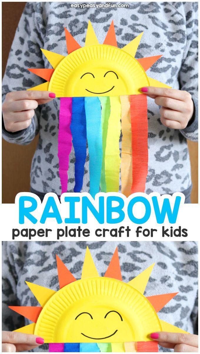Pappteller-Regenbogen-Bastelidee für Kinder