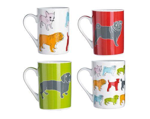 Set Of 4 Sabichi Dog Design Mugs